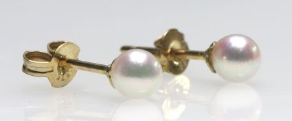 9ct Y/G Small Akoya pearl studs