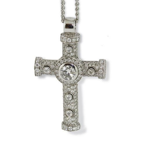 Round Brilliant Diamond Cross Pendant