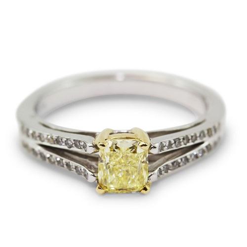 Yellow Cushere Cut & White Diamond Ring