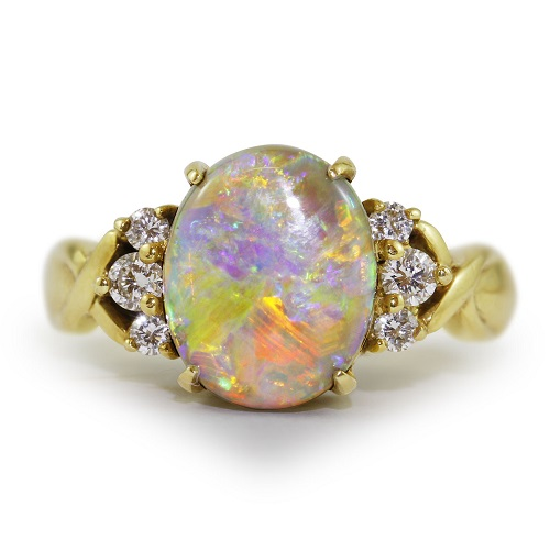 Striking 2.36ct Opal & Diamonds Ring