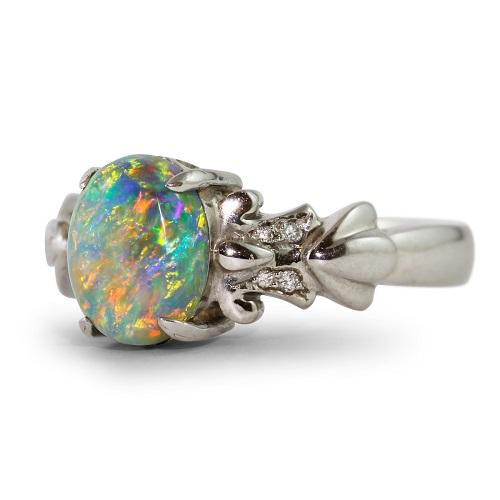 Fabulous Black Opal & Diamonds Ring