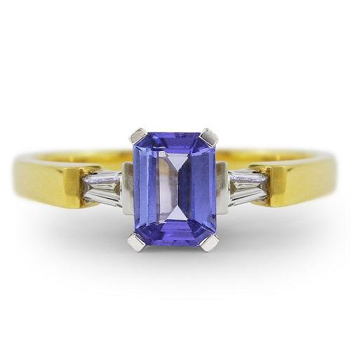Precious Blue Tanzanite & Diamond Ring