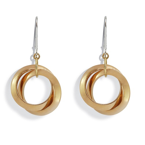 Fancy Double Circle Gold Earrings