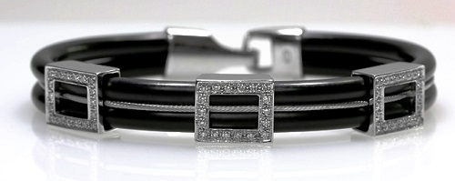 18ct W/G Diamond set neoprene bracelet