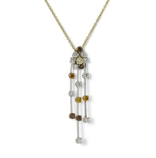 White Cognac & Yellow Diamond Pendant