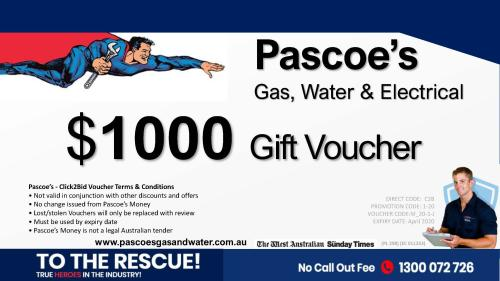 $1000 Pascoe's Gas, Water & Electrical Voucher