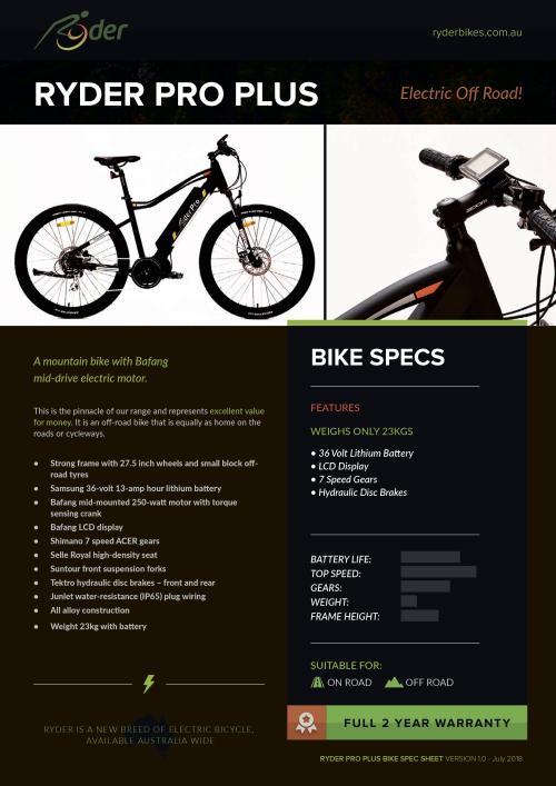 Ryder Pro Plus Electric Bike
