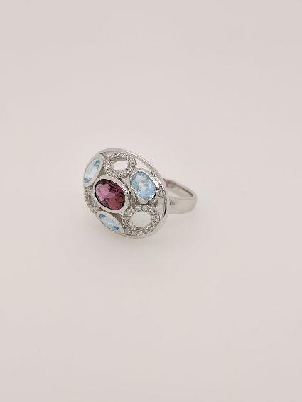 Diamond, Tormaline and Topaz ring