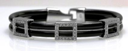 18ct W/G Diamond set neoprene bracelet