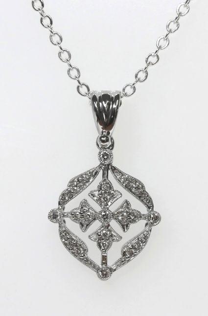 18ct W/G Art Deco diamond set pendant