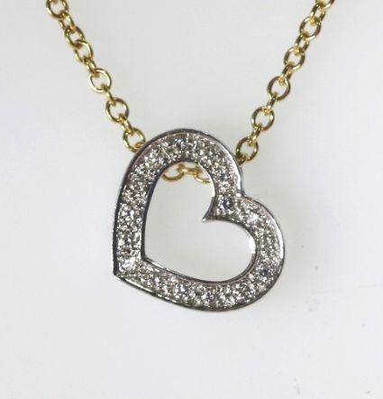 18ct W/Y Diamond set heart necklace