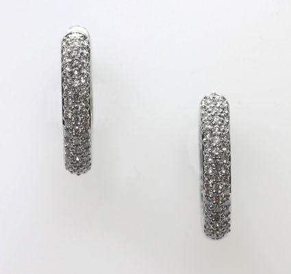 18ct W/G Pave' set diamond huggies