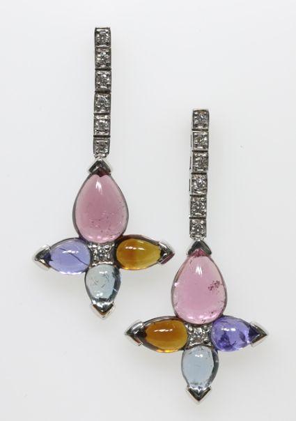 18ct W/G Multi-gem and diamond earrings