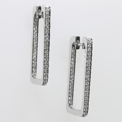 18ct W/G Square hoop diamond earrings