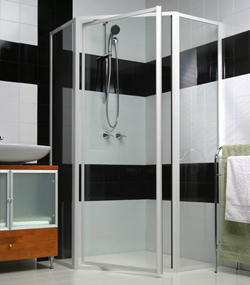 Marbletrend shower screen in white frame