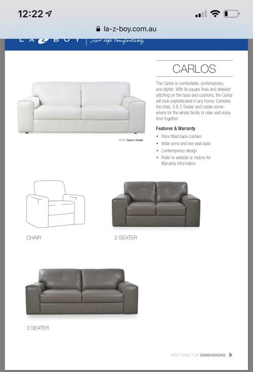 CARLOS 3 SEATER LEATHER SOFA BY LAZBOY