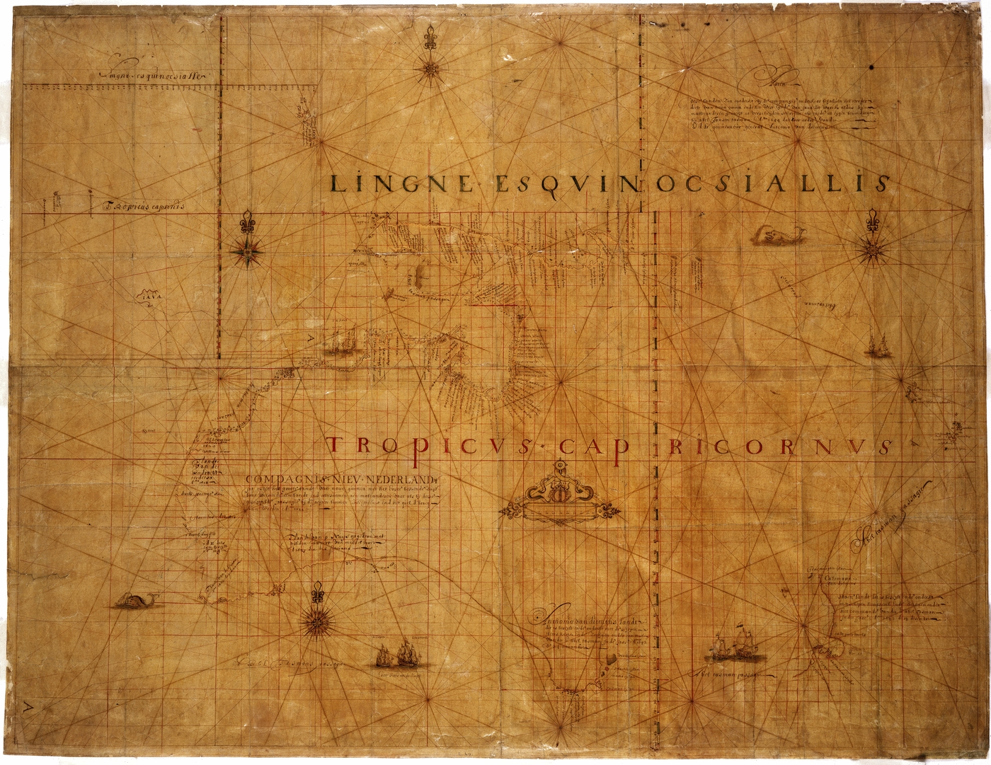 Old faded map known as the Tasman Map 1644 which looks like an early depiction of Australia