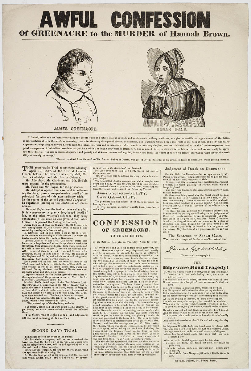 Old lithograph title the awful confession of Greenacre to the Murder of Hannah Brown with drawing of a man and a woman wearing a bonnet