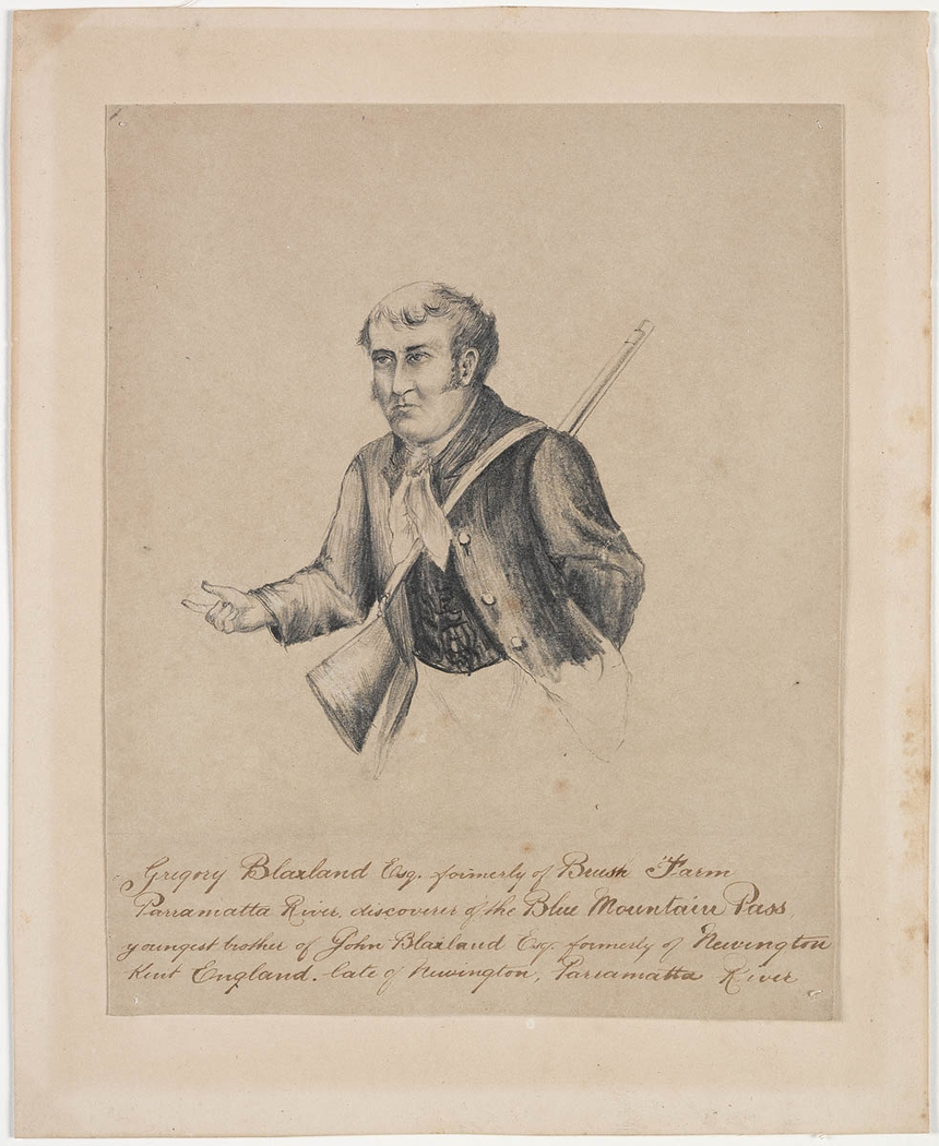 Portrait drawing of a man with a rifle behind his back