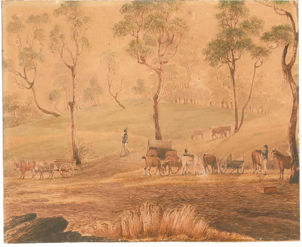 Painting of an expedition of horses, buggy, and people resting amongst landscape of grass and trees