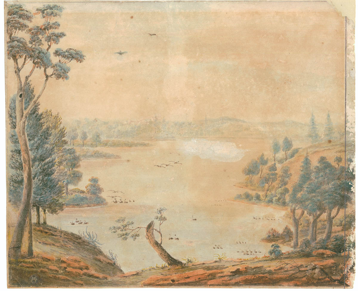 Painting of a river with ducks on it and trees around the shoreline in a valley