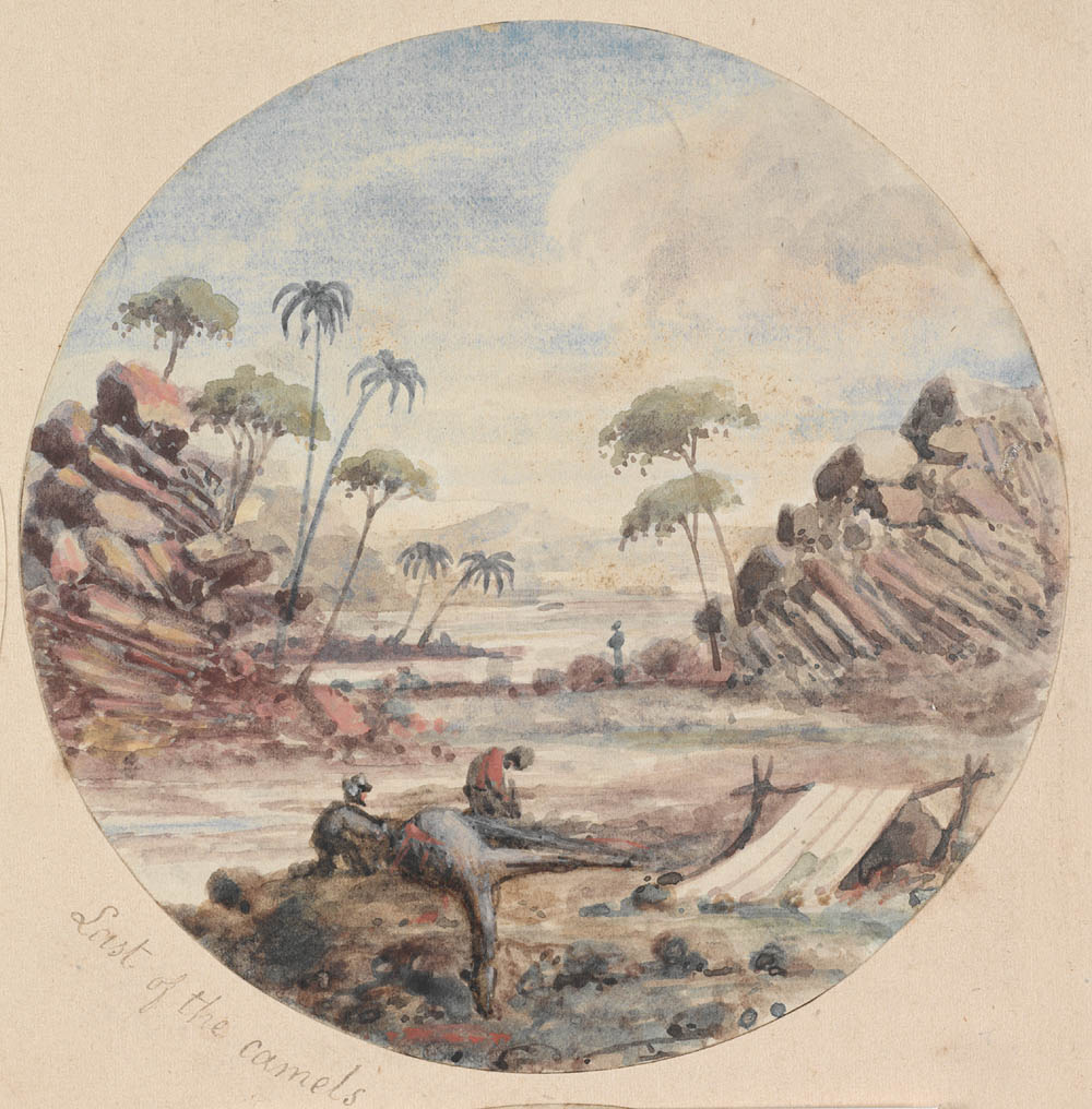 Painting depiction of two men with a dead camel surrounded by nearby trees and rocks