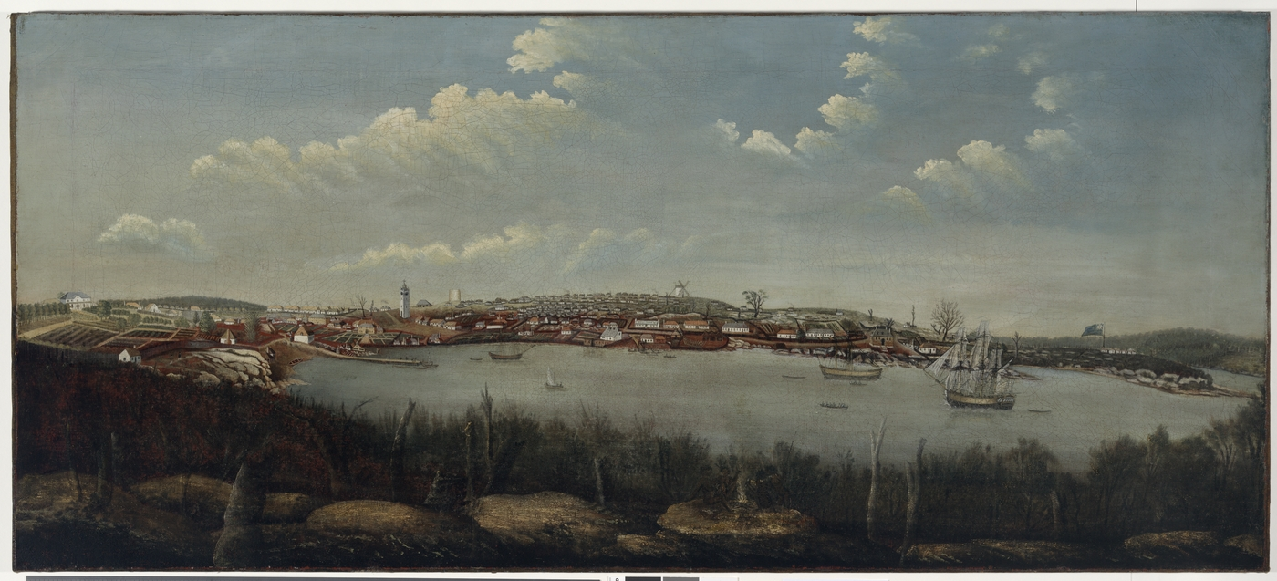 Old painting depicting Sydney Cove in ca.1800 with boats and mast ship in harbour and buildings near shoreline