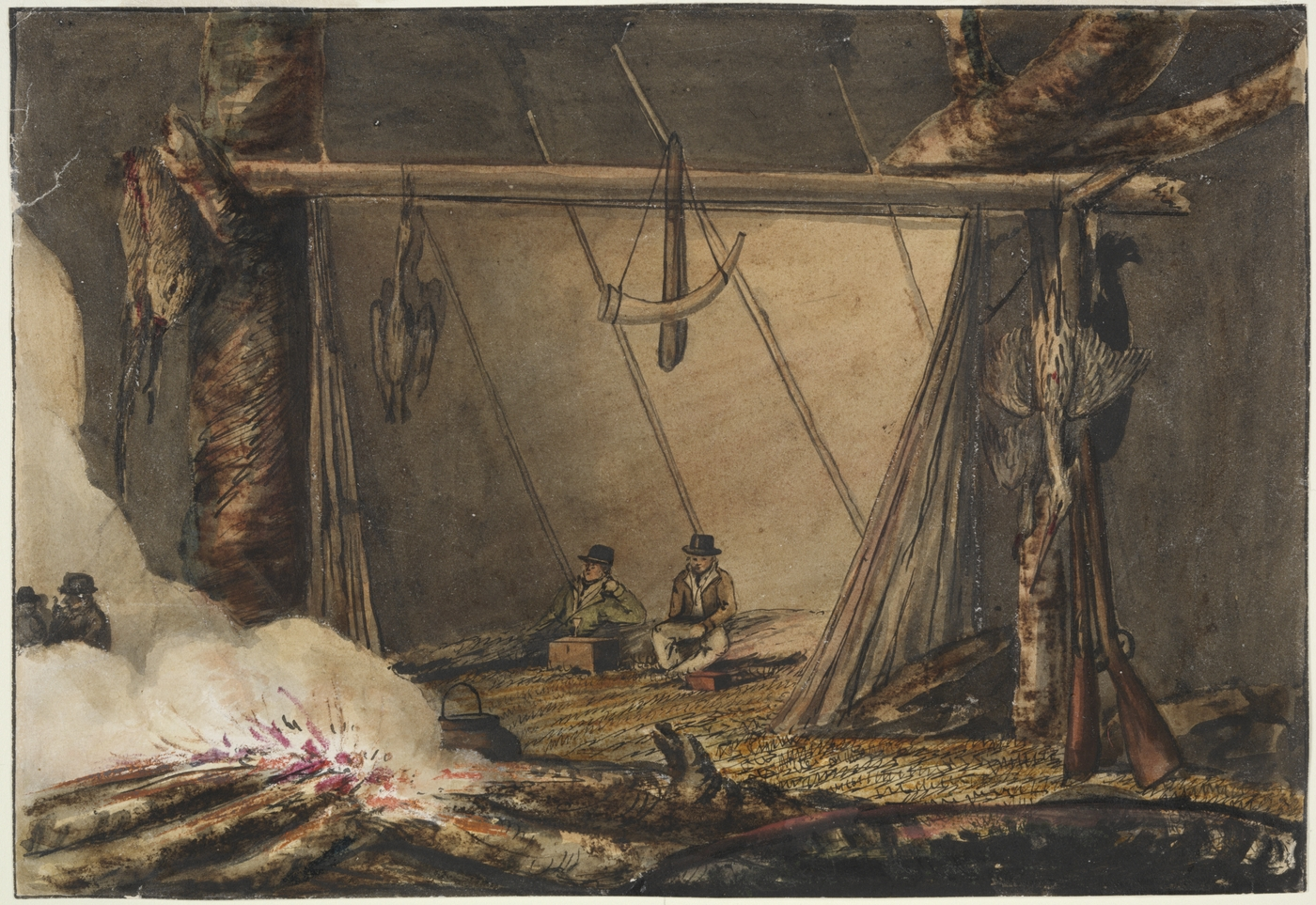 Painting of two men sitting by a fire with killed birds hanging nearby and a horn and rifles placed against a wooden pole