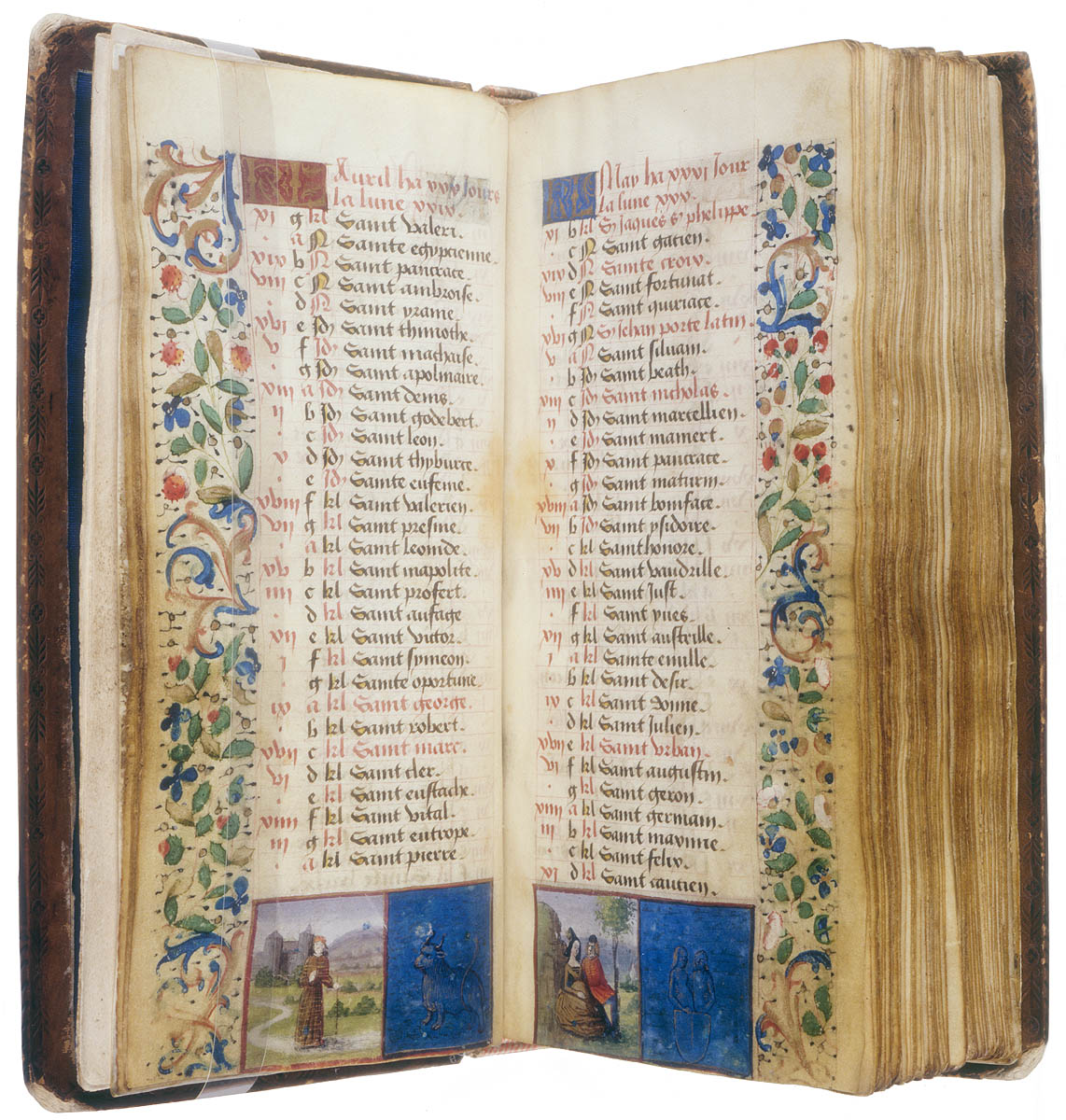 Pages of text from circa 1480 with artistic detail around page edges noting April-May and small painted pictures on the bottom of the pages
