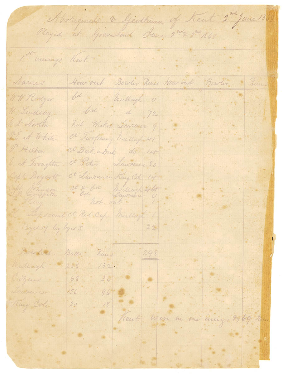 Old page with writing of cricket scores