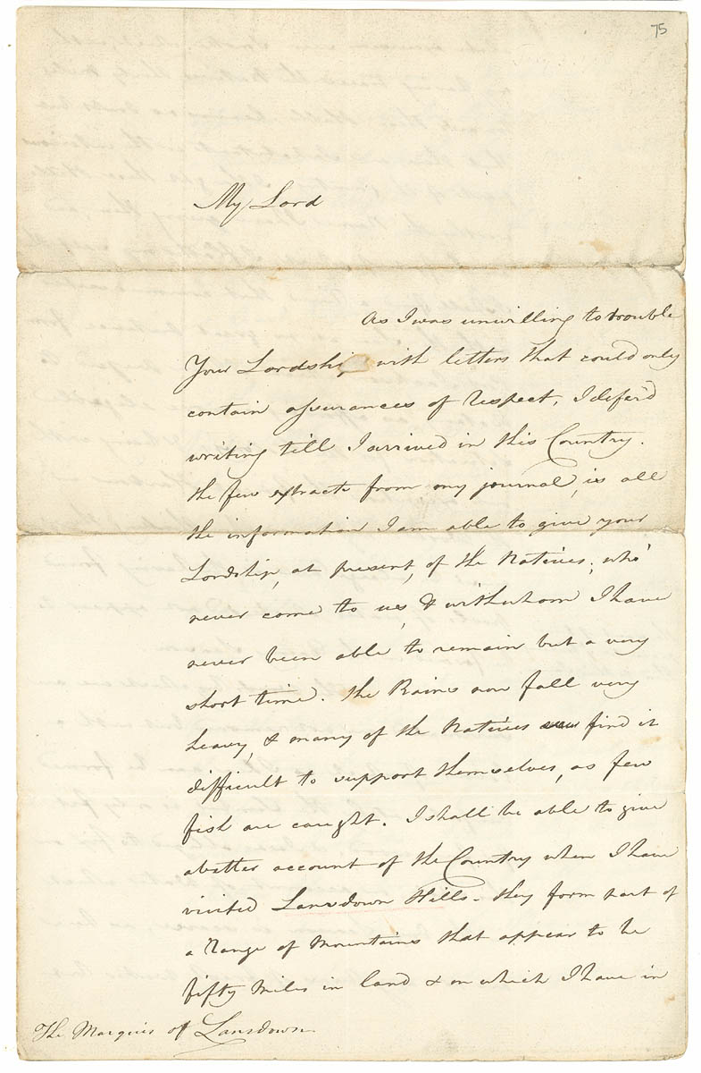 Collection 19: Letter from Arthur Phillip to the Marquis of