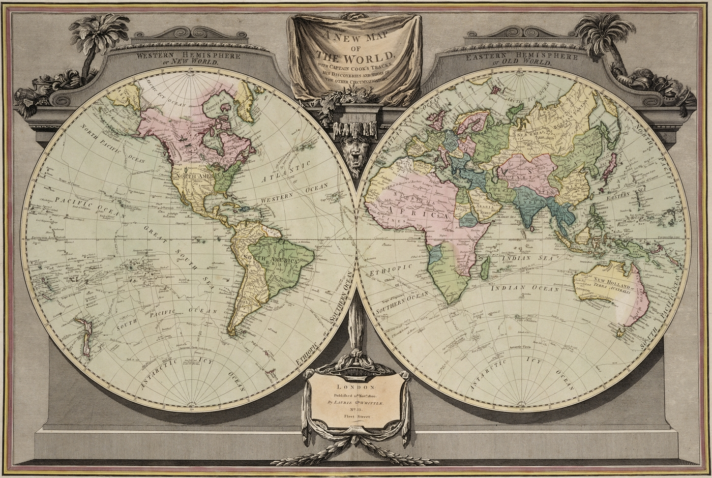 A New Map Of The World With Captain Cooks Tracks His Discoveries - 1800s world map