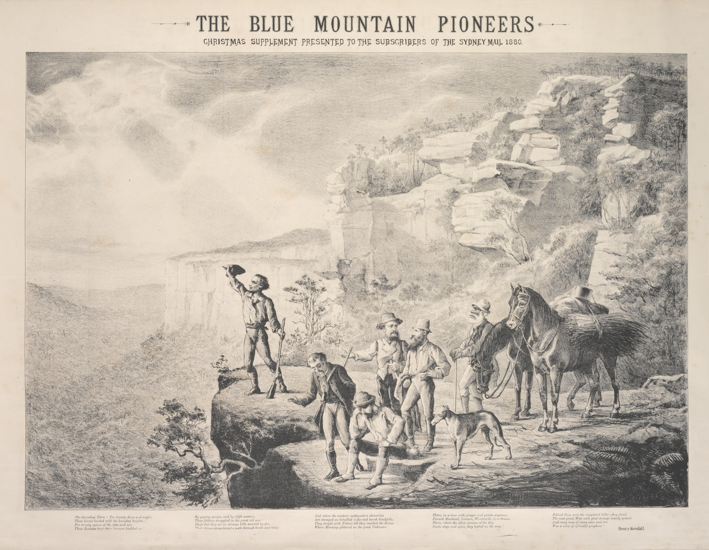Crossing the blue mountains sydney state library of nsw the blue mountain pioneers lithograph by m emile ulm sydney mail 1880 fandeluxe Images