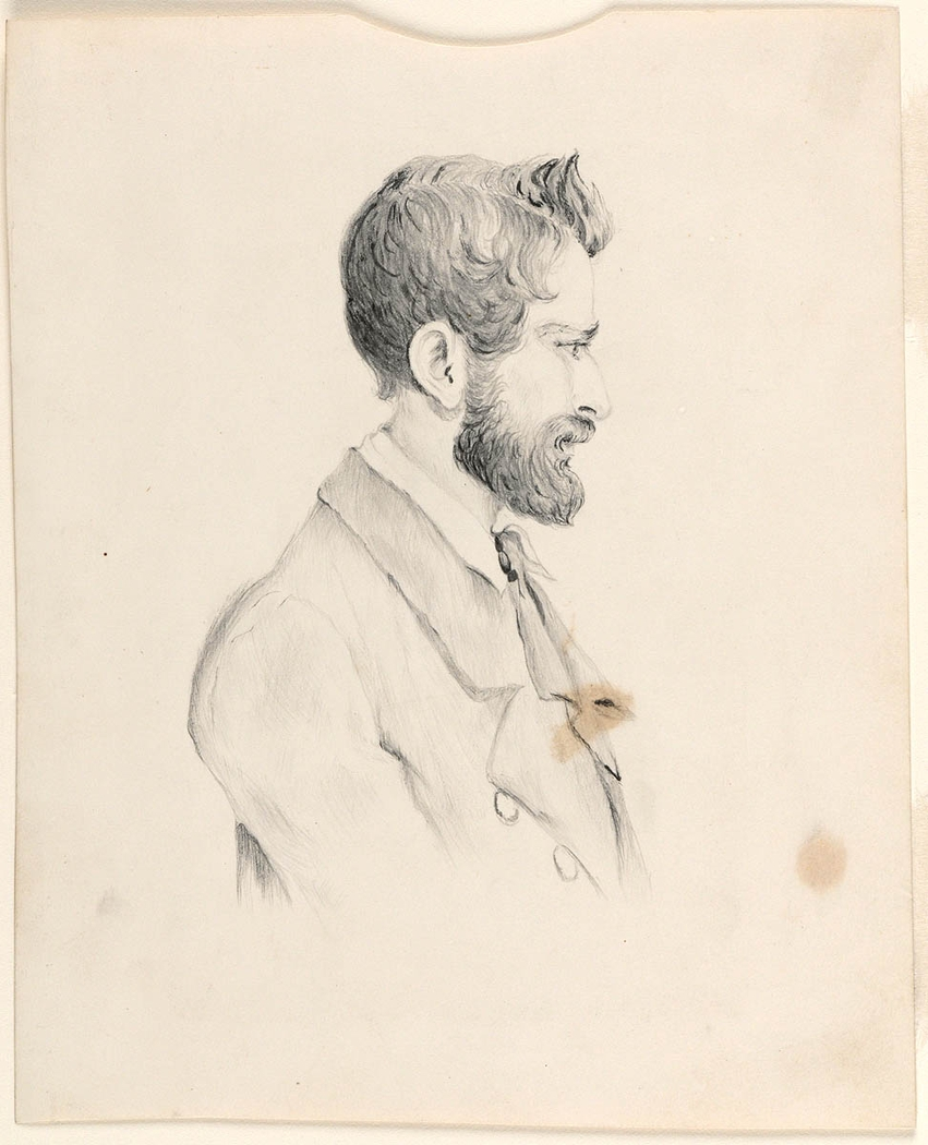 Pencil drawn portrait of man with a beard sitting to side wearing a jacket