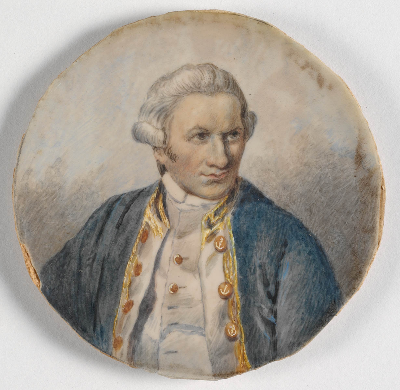 Watercolour portrait of Captain James Cook