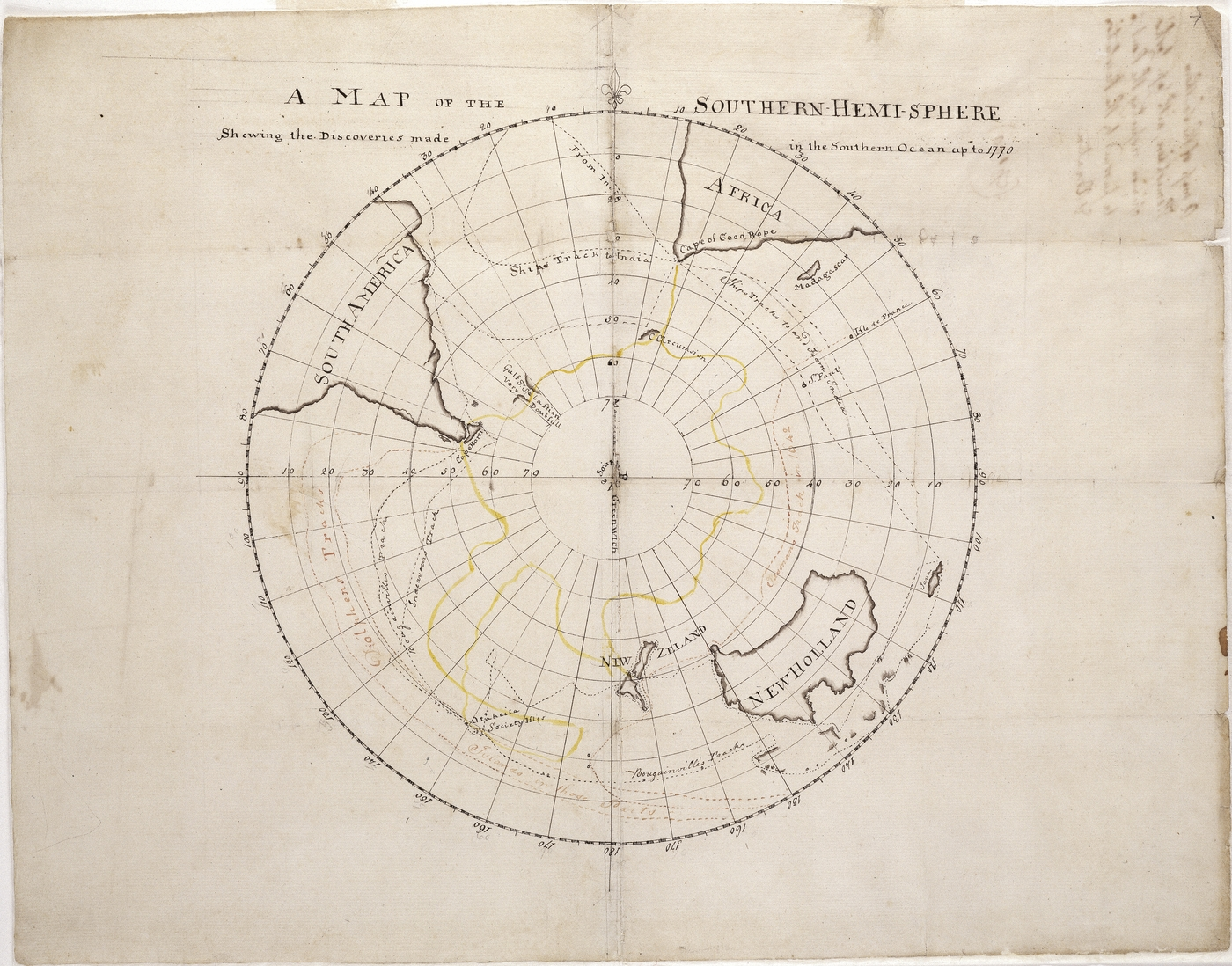 old map darwing of the southern hemisphere by Captain James Cook