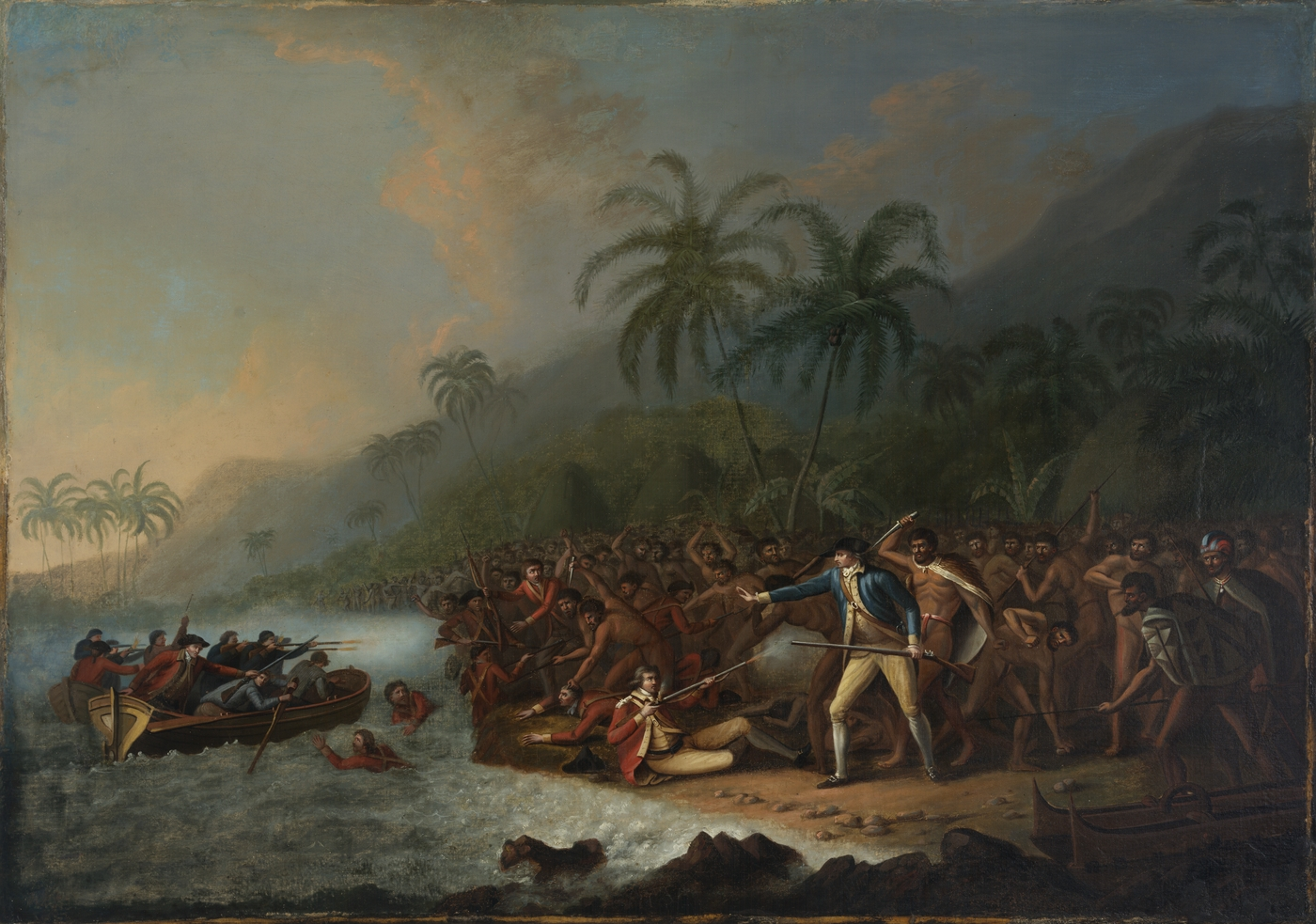 Crowd of men fighting and shooting whilst some are in a boat trying to escapte