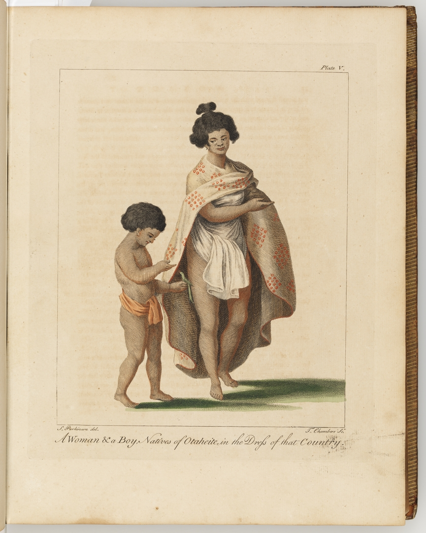 A woman and a boy in their native country clothing