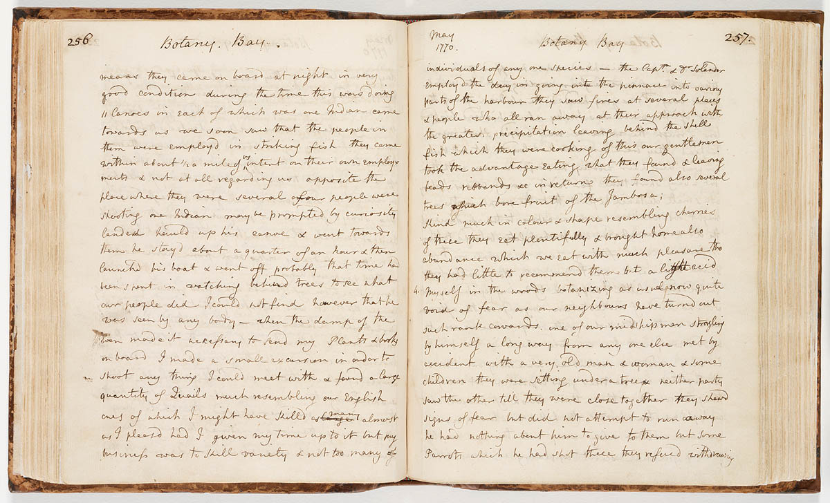 Handwritten notes in old diary noting Botany Bay in May 1770