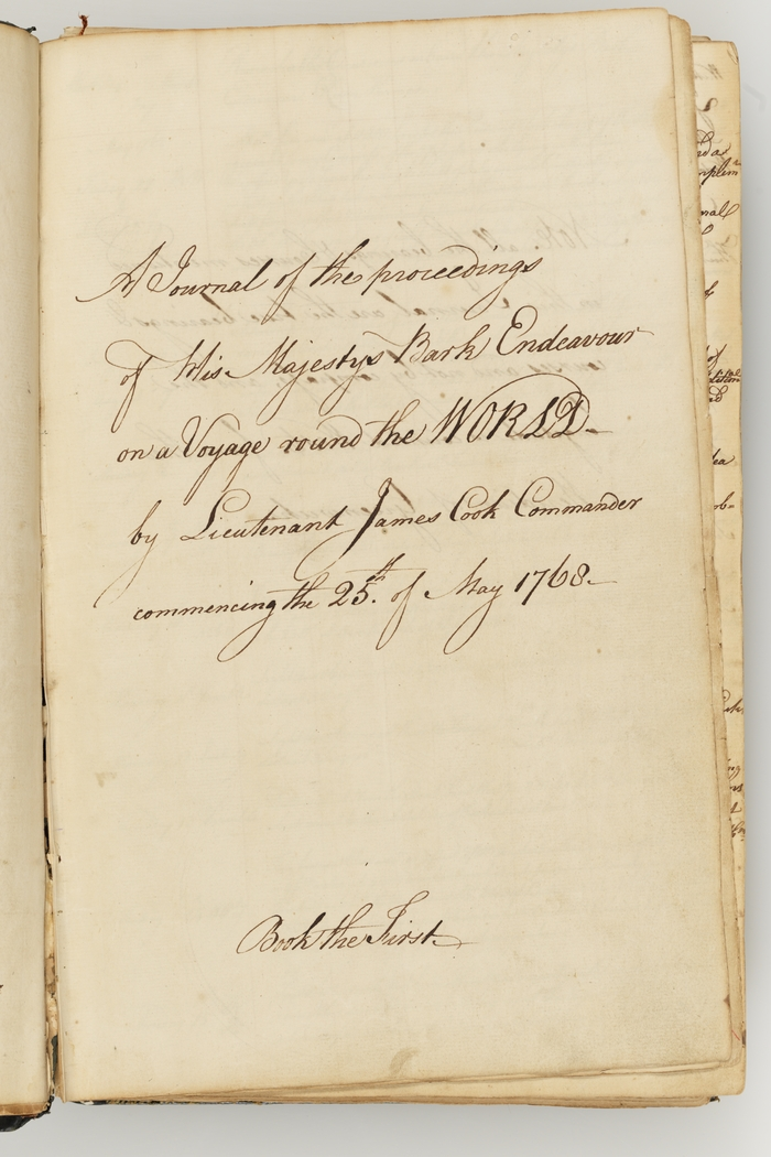 Handwriting on an old journal page saying A journal of the proceedings of His Majestys Bark Endeavour on a Voyage around the World by Lieutenant James cook Commander commencing 25 May 1768