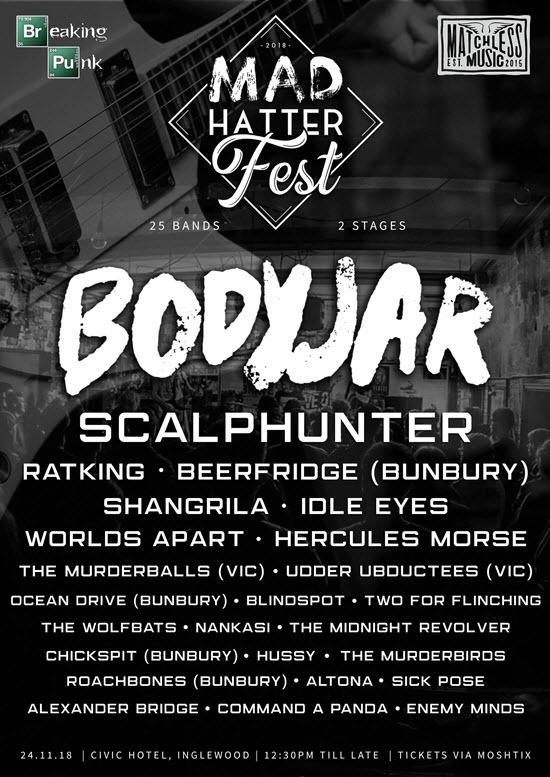 Buy MAD HATTER FEST 2018: Bodyjar + Scalphunter + More (25 Bands