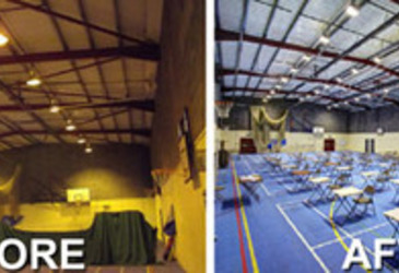 LED lighting brightens up school hall