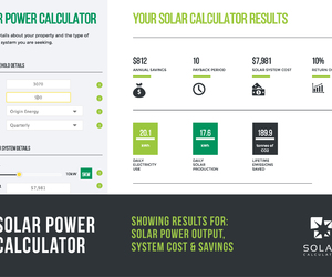 Snapshot of solar power calculator