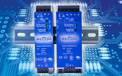 RECOM REDIN120 and REDIN240 DIN rail power supplies