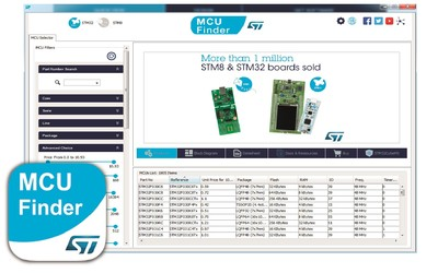 STMicroelectronics MCU Finder for PC