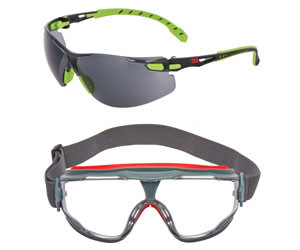 3m solust 1000 and goggle gear 500 series safety eyewearr with scotchgard anti fog