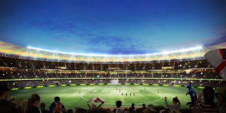 Perth stadia artist impression inside cricket philips lighting