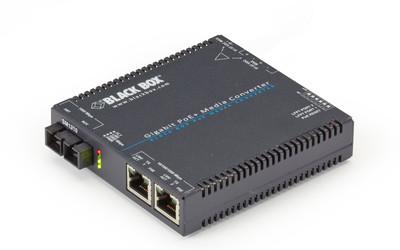 Black Box Gigabit Ethernet PoE+ single-mode media converter