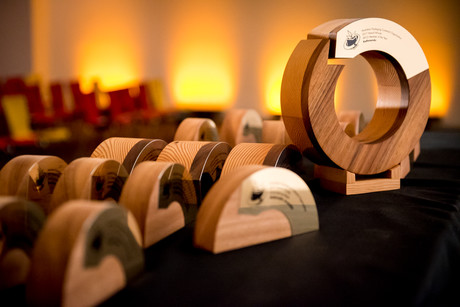 The 2017 apco awards trophies  made from reclaimed timber.