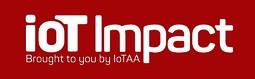 Iot impact logo white on red